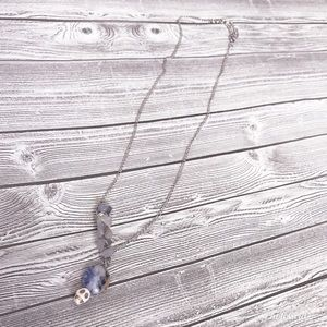 Skull and stone necklace